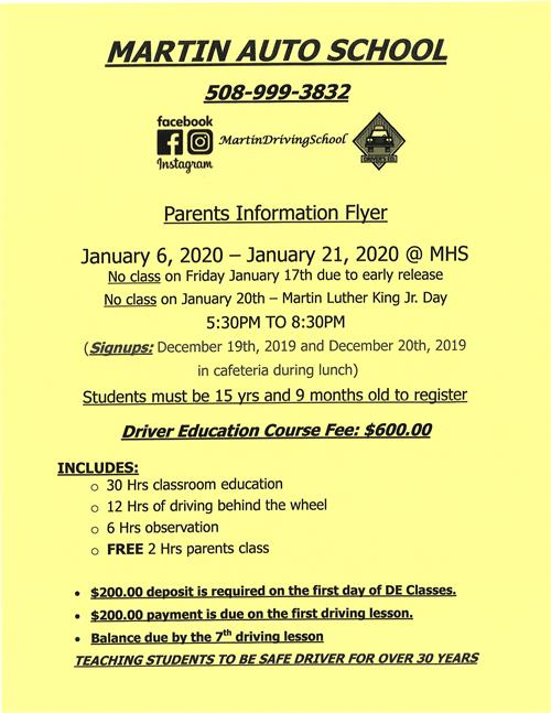 January 2020 Parents Information Flyer