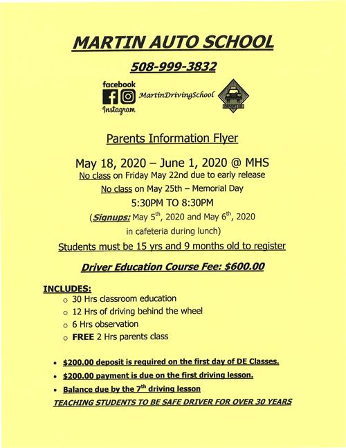 May 2020 Parents Information Flyer