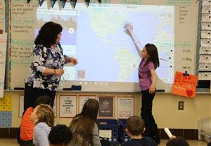 Student in Mrs. Hilton's class attempts to locate the country on Google Maps